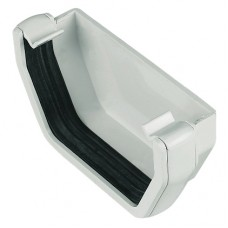 Square Line External Stop End - White