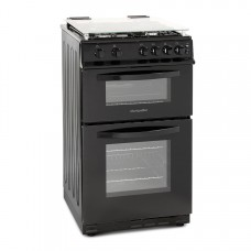 Montpellier 50cm Gas Double Oven With Lid Black