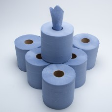 BLUE EMBOSSED CENTRE FEED PAPER ROLLS 6 PACK 2 PLY