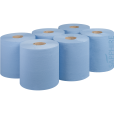 BLUE EMBOSSED CENTRE FEED PAPER ROLLS 150M x 6 PACK 2 PLY