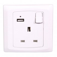 Single Socket Switched With USB White