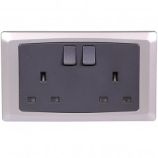 Double Switched Socket with Trim Silver