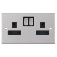 Satin Chrome & Black Insert Double 2 Gang Switched Socket 13A