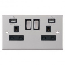 Satin Chrome & Black Insert 2 Gang Switched Socket 13A With 2x USB Ports