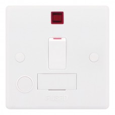 Smooth White 13A DP Switched Fused Connection Unit with Flex Outlet and Neon