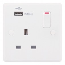 Smooth White 1 Gang 13A Switched Socket with USB Outlet