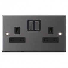Black Nickel & Black Insert Double 2 Gang Switched Socket 13A