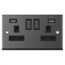 Black Nickel & Black Insert 2 Gang Switched Socket 13A With 2x USB Ports