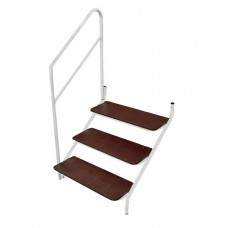 BOLT ON 3 TREAD STEP AND HANDRAIL WHITE